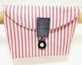 Bike Handlebar Bag in a Red Ticking Fabric