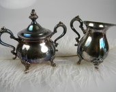 SALE Vintage Silver Plated Sugar and Creamer set - Christmas Entertaining Hostess Gift - Wedding Gift - Ornate