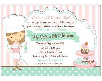 Pastry Chef Cupcake Baking Invitation Printable or Printed with FREE SHIPPING - (You Pick Hair Color/Skin Color) -Pastry Chef Collection