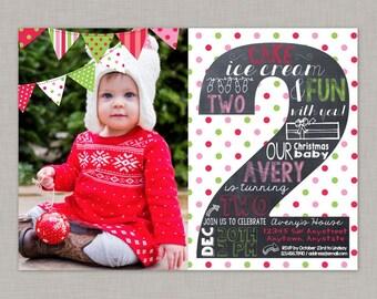 Christmas Birthday Invitation, Second Birthday Invitation, Chalkboard Invitation