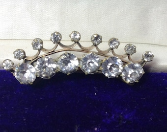 Antique Victorian Paste Tiara Brooch Gold Filled