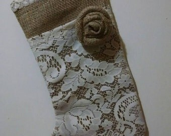 Burlap and Lace Christmas Stocking