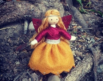 Autumn Fairy  -  Waldorf Doll -  Bendy Doll -  Nature Table - Fairy Doll - Autumn Doll - Fall -
