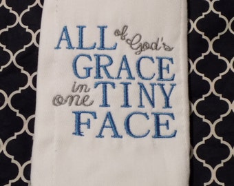 New Item! Boutique All of God's Grace burp cloth monogrammed