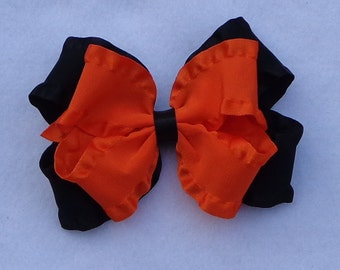 Fall/Halloween Double Ruffle Hair Bow, Black/Orange  Double Ruffle Hairbow, Double Ruffle Hair Bow, Basic Hair Bow, Fall Boutique Bow