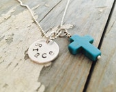 Grace/ Cross/ As Simple as Grace/ Hand Stamped Necklace/ Turquoise Cross/ personalized