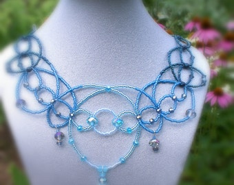 Raindrop Prelude Blue Necklace with Earrings