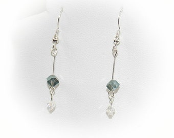 Raindrop Crystal Earrings in Translucent Aqua