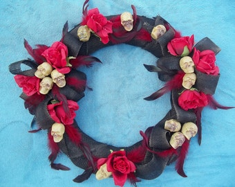 "Horror Gothic  18"" Wreath with Skulls Roses Feathers Black and Red"
