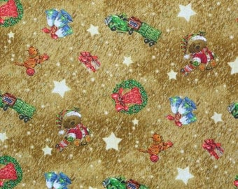 Christmas Fabric, Old World Christmas, Giordano Studio, Vintage Toys, By the Yard, Metallic Accents