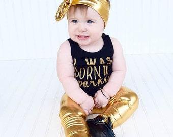 Metallic Gold - Toddler and Baby Leggings - Stretchy Spandex Gold Leggings - Gold Baby Leggings