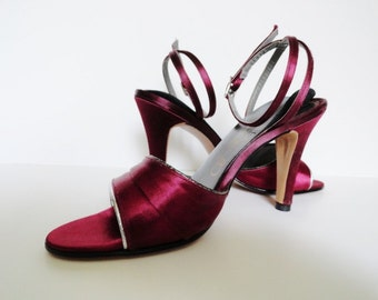 VALENTINE'S DAY WEDDING|Vintage Marsala Air Step Shoes|Vintage Wine Sandals|Vintage Wedding Shoes|T Strap High Heel Sandals|Size 7 N