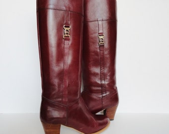 Vintage women boots|Size 5 1/2  Marsala Vintage Oxblood Aginer Leather  Boots| Equestrian Wine Leather Boots