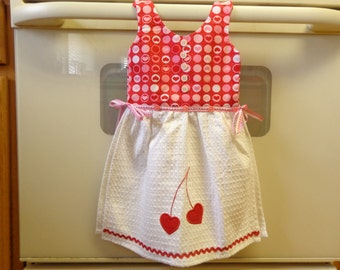 Cherry Hearts - Hanging Kitchen Towel
