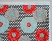 Dish Mat in Grey Springdale Floral / Kitchen Dish Drying Mat /  DishMat / Dish Drying Towel in Gray, Coral Red and Teal Aqua Blue
