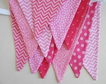 Pink  Banner/ Baby Shower Decoration/ Photo Prop / Fabric Bunting in Chevron and Polka Dots