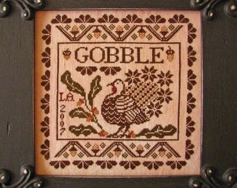 Gobble Thanksgiving cross stitch pattern by Plum Street Samplers OPTIONAL threads at thecottageneedle.com turkey give Autumn holidays