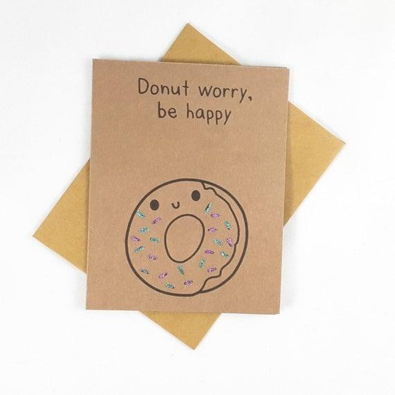 Donut, Funny Card, Funny Greeting Card, Greeting Cards, Pun Card, Cute Card, Doughnut, kawaii
