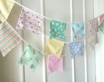 Shabby Chic Fabric Banners, Bunting, Garland, Wedding Bunting,  Flags - 3 yards