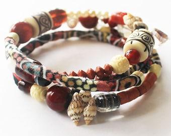 Tribal bracelet, Australian fabric cord, Textile wrap bracelet, Gypsy bracelet, Memory wire bracelet, Textile jewelry, Fabric jewelry