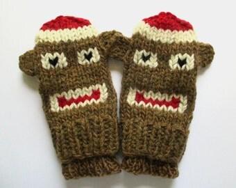 Children's Mittens, Sock Monkey Mittens, Child Size 6-7 year old, Brown Monkey Mittens, Hand Knit