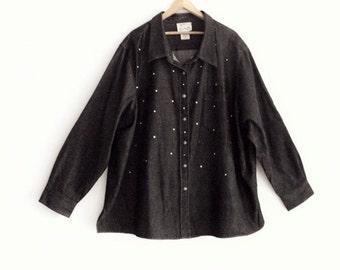 Sale Plus Size Beaded Denim Shirt Jacket
