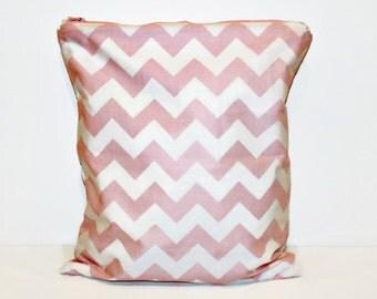 Large Pink and White Chevron Wet Bag, Cloth Diaper Wet Bag, Reusable Waterproof Bag, Beach Bag, Pool Bag