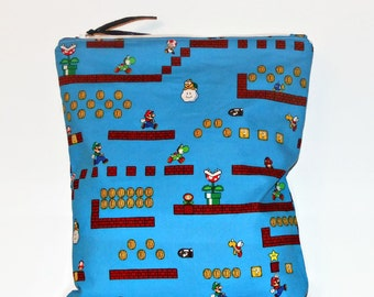 Large Wet Bag Super Mario Bros, Cloth Diaper Wet Bag, Reusable Waterproof Bag, Beach Bag, Pool Bag, Wetbag
