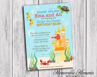 PRINTABLE INVITATIONS Sand Castle Under the Ocean Birthday Invitation - Memorable Moments Studio