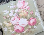 Antique English Pink Cabbage Rose Floral Vintage Fabric Custom Decorative Throw Pillow