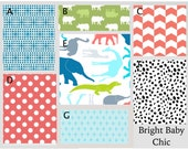 Crib Bedding- Design Your Own Crib Set- Bright Baby Chic- Aqua, Lime, Gray, Coral