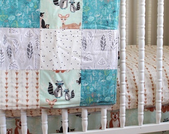 Crib Bedding- Baby Bedding- crib skirt, sheet and patchwork blanket in fabrics you choose