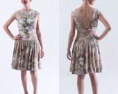 1960's Floral Backless Dress/ Pat Premo Dress/ Pastel Drop Waisted Open Back Dress