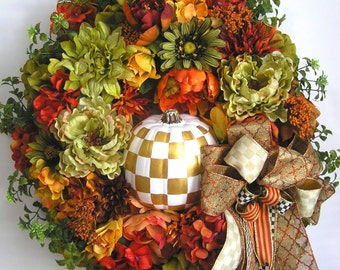 Autumn Wreath, Fall Wreath, Pumpkin Wreath, Halloween Wreath, Winter Wreath, Thanksgiving Wreath, Christmas Wreath