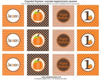 Pumpkin Patch One First Birthday Boy orange brown tan   PRINTABLE Cupcake Toppers  #5 chevron polka dot  1st  halloween fall