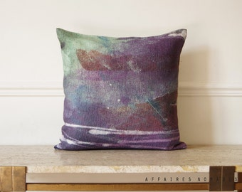 "Violet ombre pillow. The valley of the fireflies / Poetic 18"" Square decorative pillow  linen..  /  FRAGMENTS"