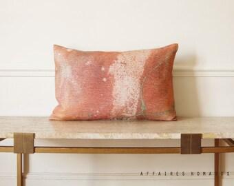 """Pink throw pillow Milky Way / Linen oblong art pillowcase Galaxy 14""""x 22""""... / FRAGMENTS"""