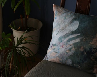 "Plant motif pillow. In the Greenhouse / Linen Squart Cushion 18""x18"".  Green..  /  FRAGMENTS"