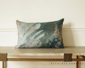 "Art pillowcase. Plant motif. In the Greenhouse / Linen Oblong Cushion 14""x 22"".  Green..  /  FRAGMENTS"