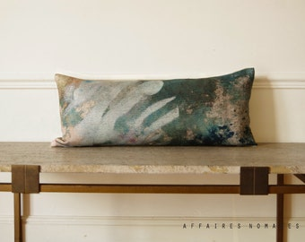 Plant motif lumbar pillowcase. Green linen pillow...In the Greenhouse  /  FRAGMENTS. Getting the green into your home.