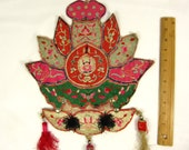 Chinese Antique Applique Very Rare Heavy Embroidered Silk Decorative Big 1930s