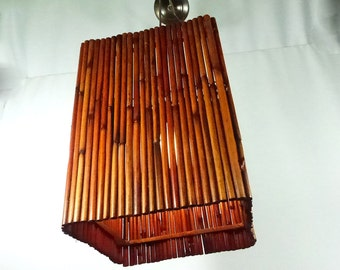 Pendant Bamboo Chandelier Light Custom Shade Large Square Handmade Fixture