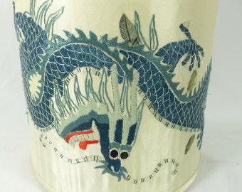 Lamp Shade Antique Dragon Asian Embroidery Fabric Cylinder Custom Made One of a Kind NYC