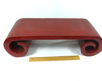 """Chinese Table Wood Scroll Heavy 24"""" Long Deep Red Vintage"""