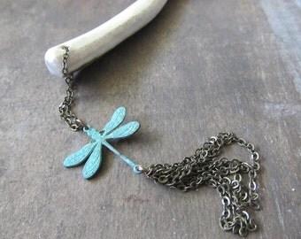 Deer Horn Dragonfly Hair Stick - DECORUS- Stag Antler Dangle Beaded Hair Jewelry Kanzashi Verdigris Brass