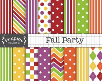 Fall Digital Paper, Fall Digital Scrapbook Paper, Autumn Digital Background Paper, Thanksgiving, Polka Dot Instant Download Commercial Use