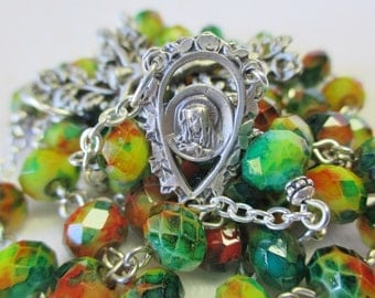 Handmade Catholic Rosary, Autumn Colors Crystal Rondelle Beads, Sorrowful Mother Center, Vines and Leaves Crucifix