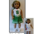 Cheerleader and tennis dress with visor sewing pattern for American Girl and similar dolls