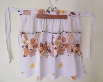 Vintage Flowers and Fruit Print Apron