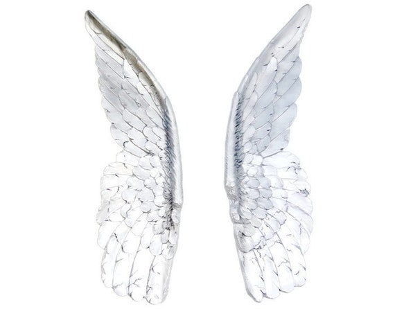 Large silver angel wings angel wing wall decor sympathy for Angel wings wall decoration
